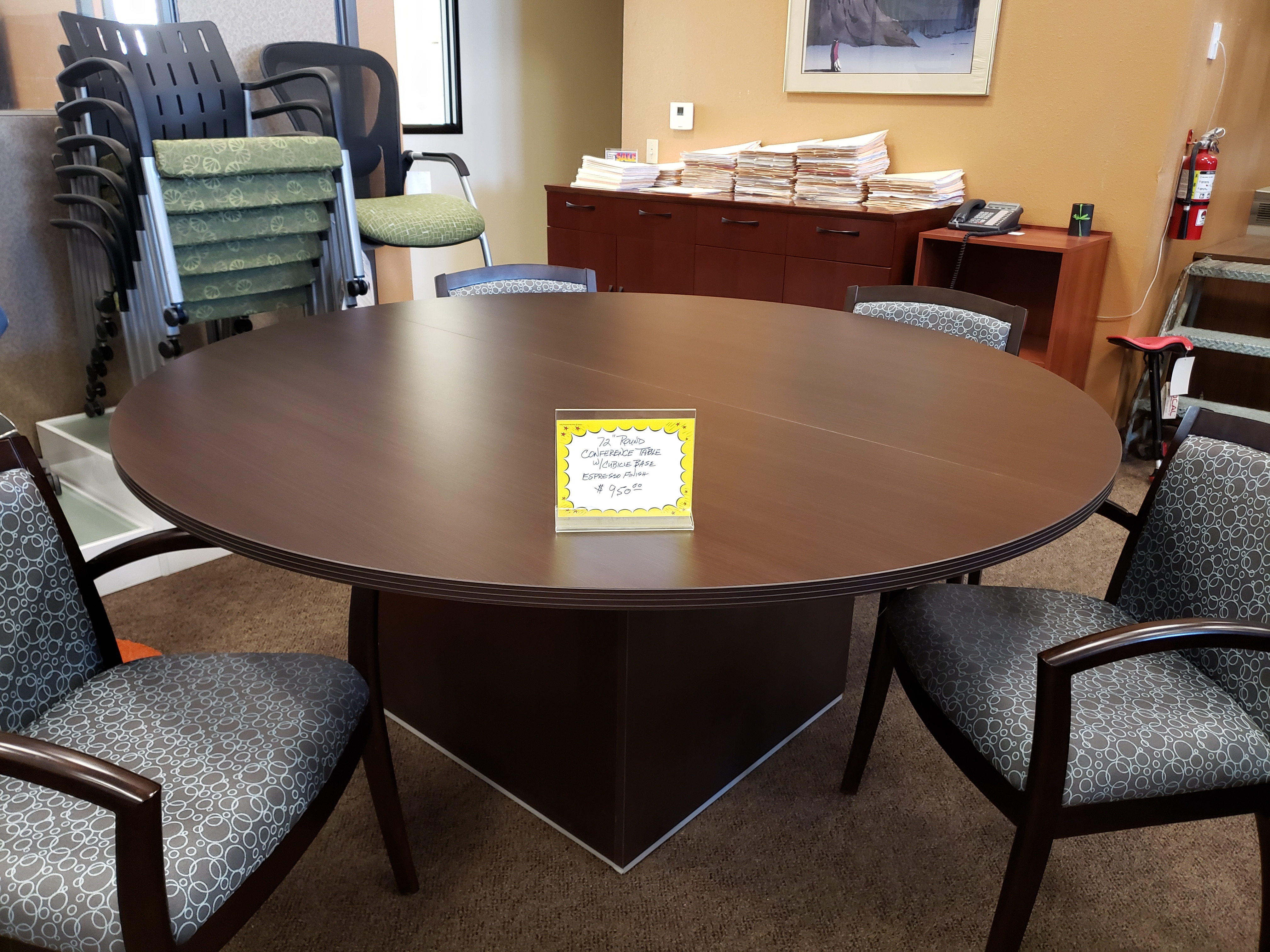 4 FOOT ROUND ESPRESSO CONFERENCE TABLE