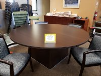 6 FOOT ROUND ESPRESSO CONFERENCE TABLE