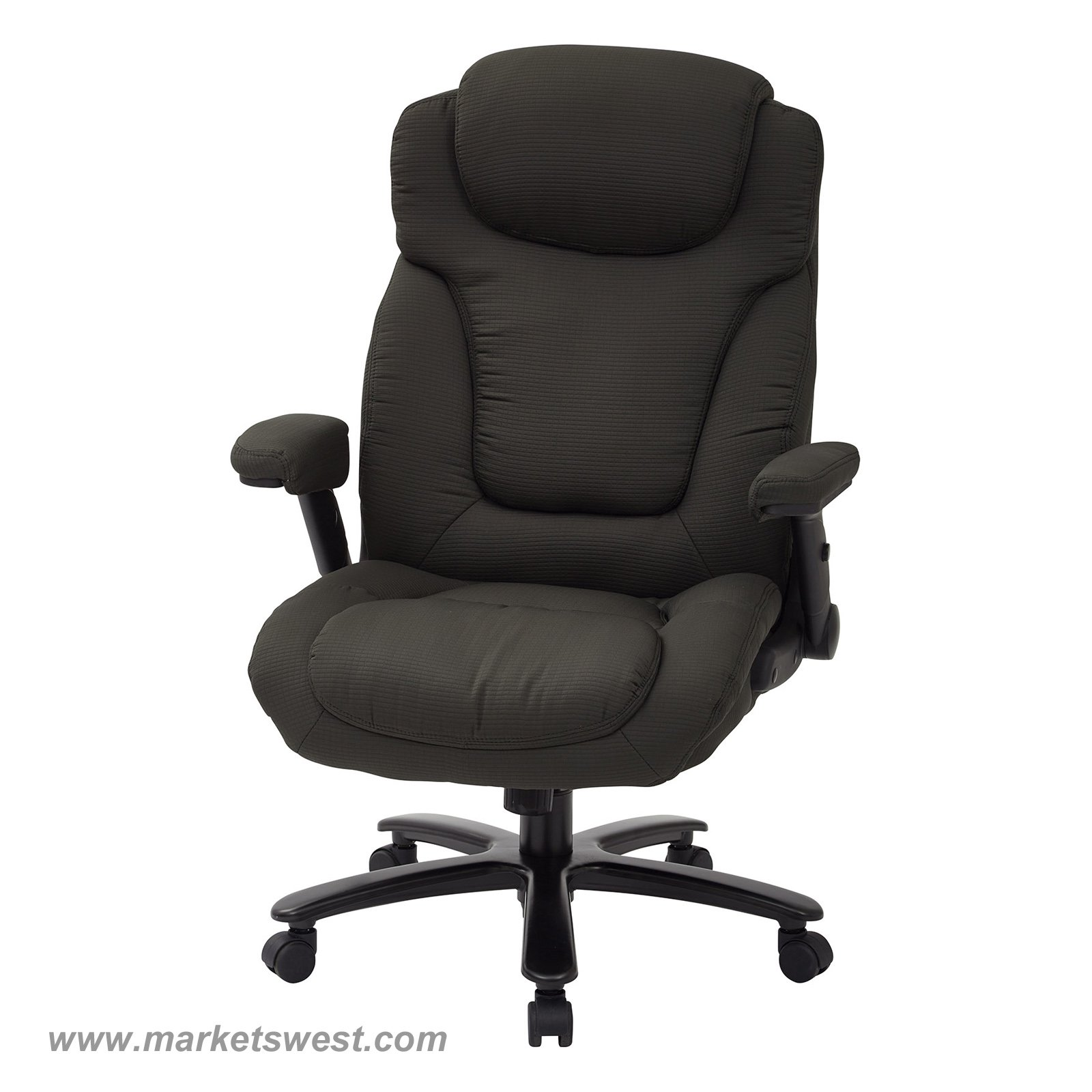 High back fabric office chair - Big Tall High Back Charcoal Fabric Executive Chair With Padded Flip Arms