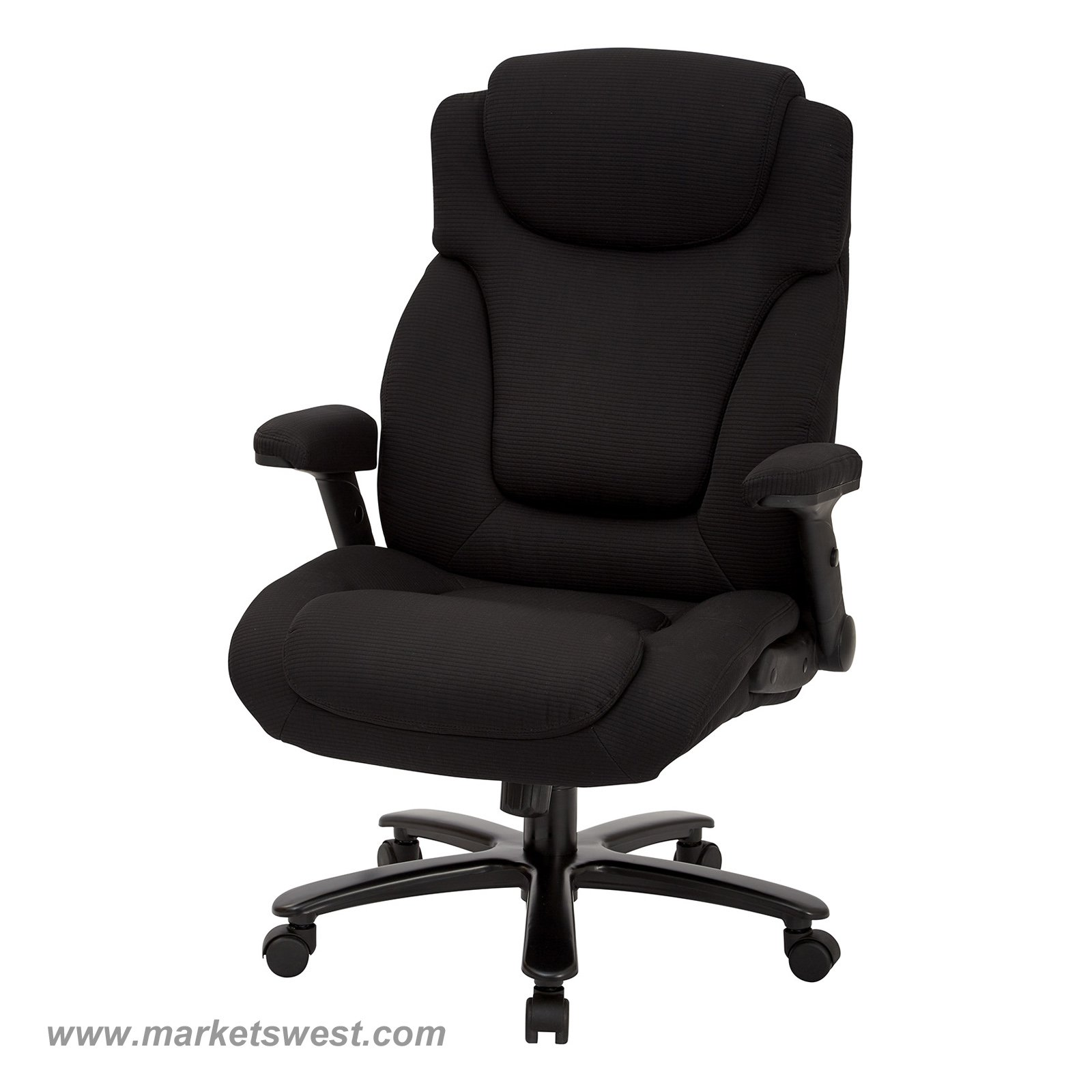 Big & Tall High Back Black Fabric Executive Chair with Padded Flip