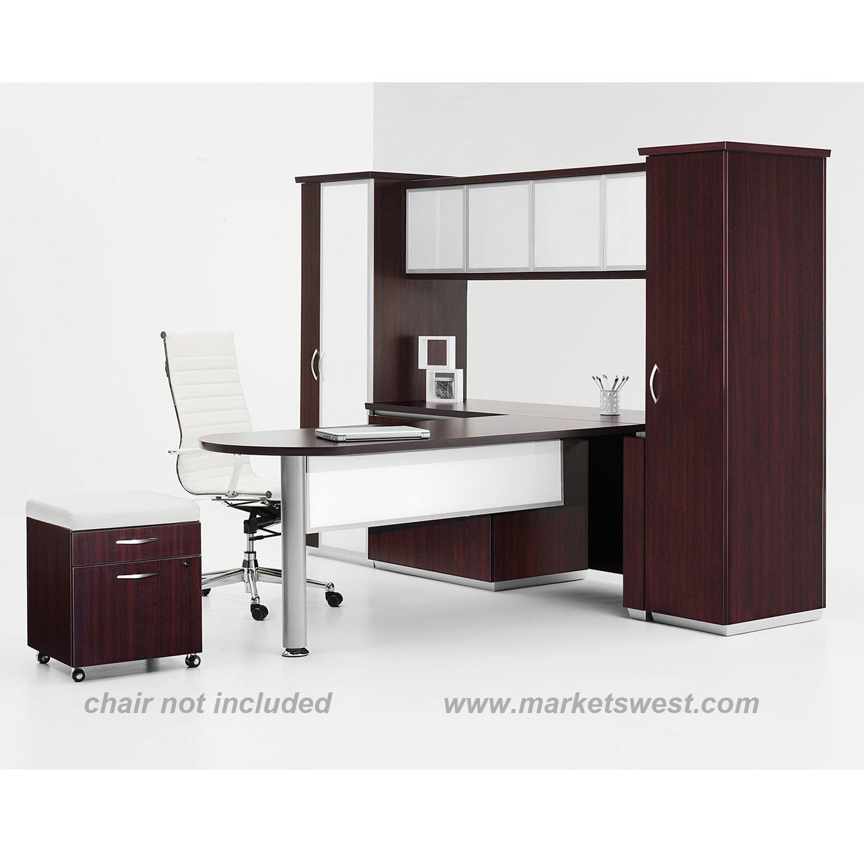 Pimlico Mocha Laminate White Glass Desking System W