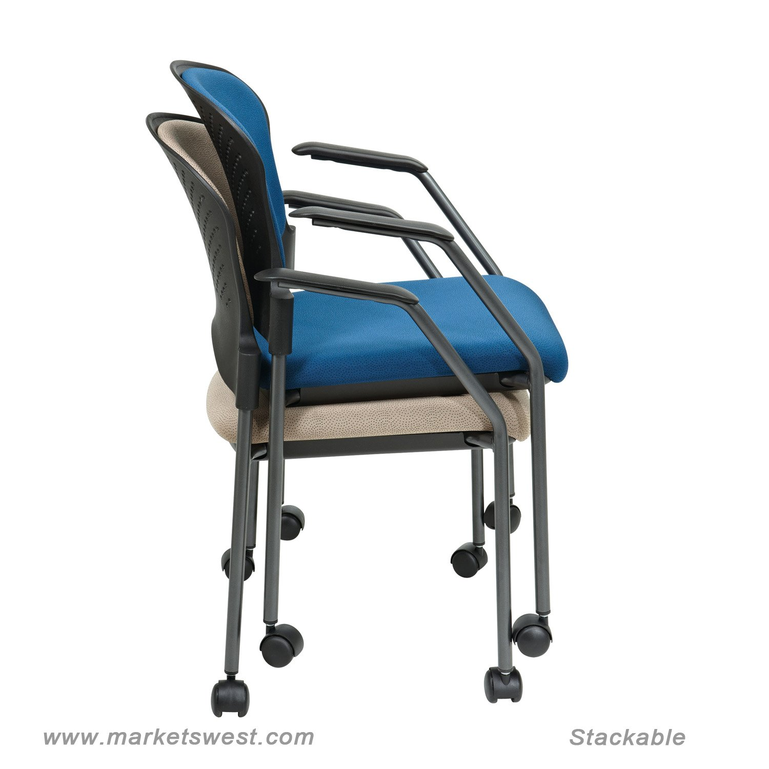 sc 1 st  Markets West Office Furniture & Rolling Stackable Visitors Chair with Upholstered Back