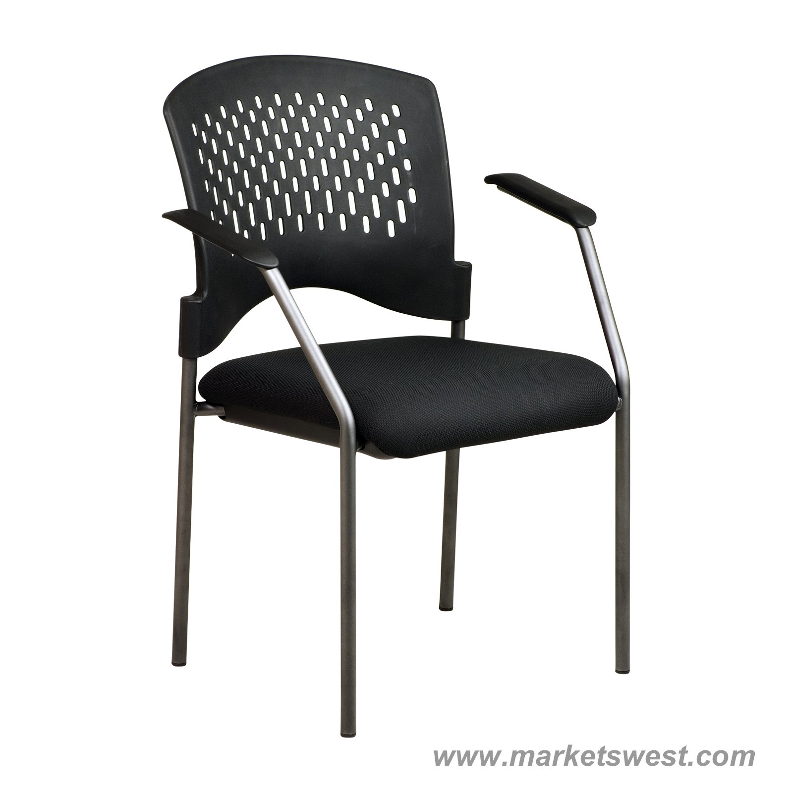 Pro Line II Titanium Finish Black Visitors Chair With Arms And Ventilated Plastic  Wrap Around Back