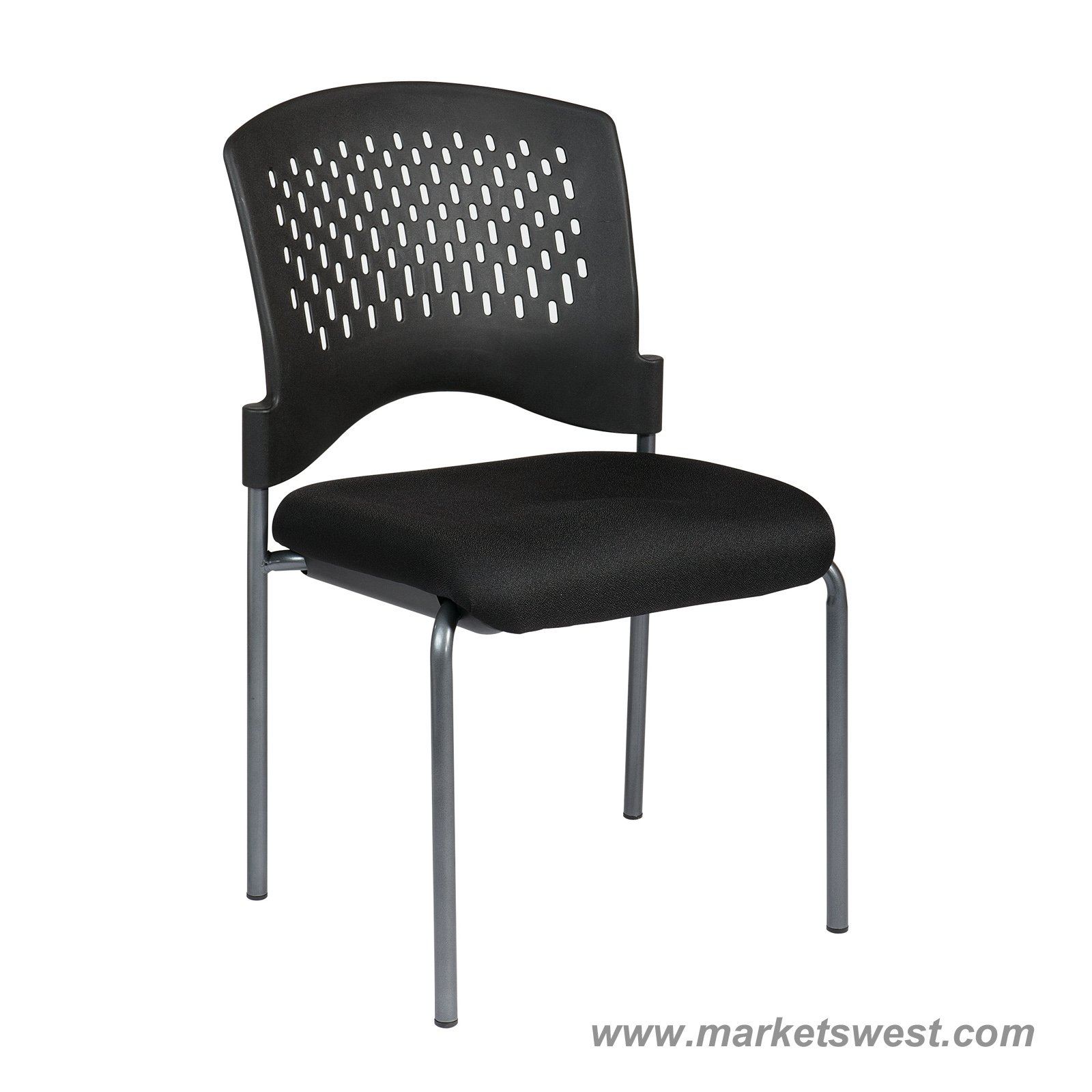 Pro Line II Titanium Finish Black Armless Visitors Chair With Ventilated Plastic  Wrap Around Back