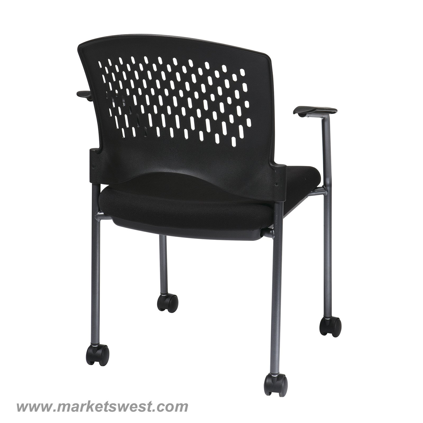 Pro-Line II Titanium Finish Rolling Black Visitors Chair with Casters Arms and Ventilated Plastic Wrap Around Back  sc 1 st  Markets West Office Furniture & Pro-Line II Titanium Finish Rolling Black Visitors Chair with ...