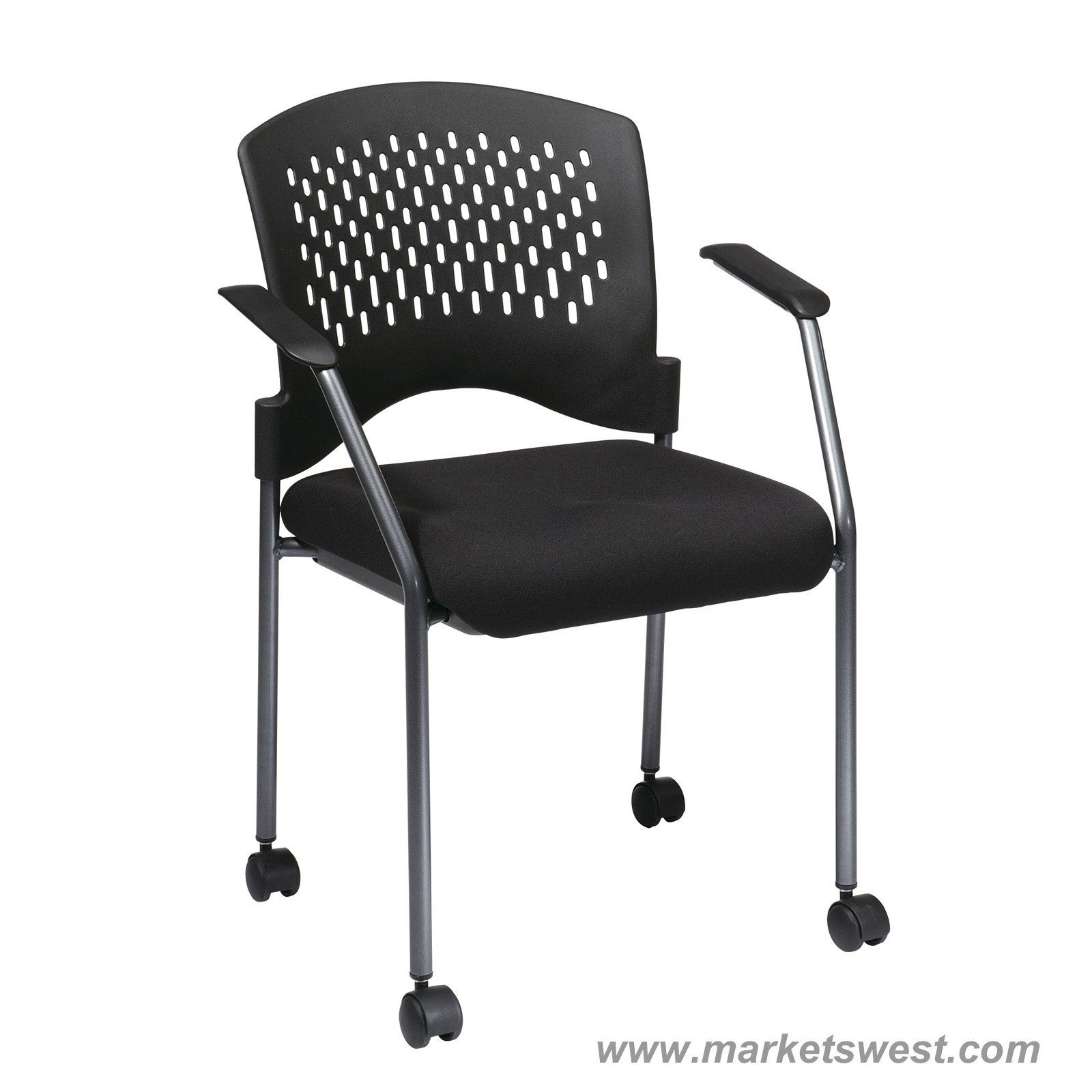 Pro Line II Titanium Finish Rolling Black Visitors Chair With Casters Arms  And Ventilated Plastic Wrap Around Back