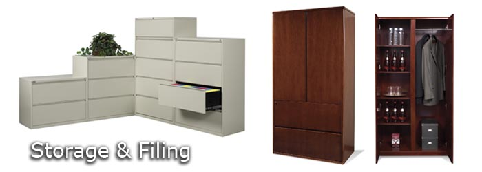 storage and filing office desks with