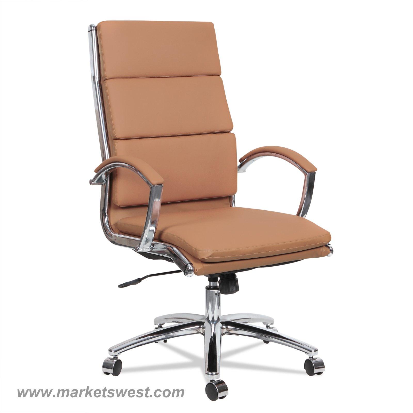 Neratoli High Back Swivel Tilt Chair Red Soft Touch Leather Chrome Frame