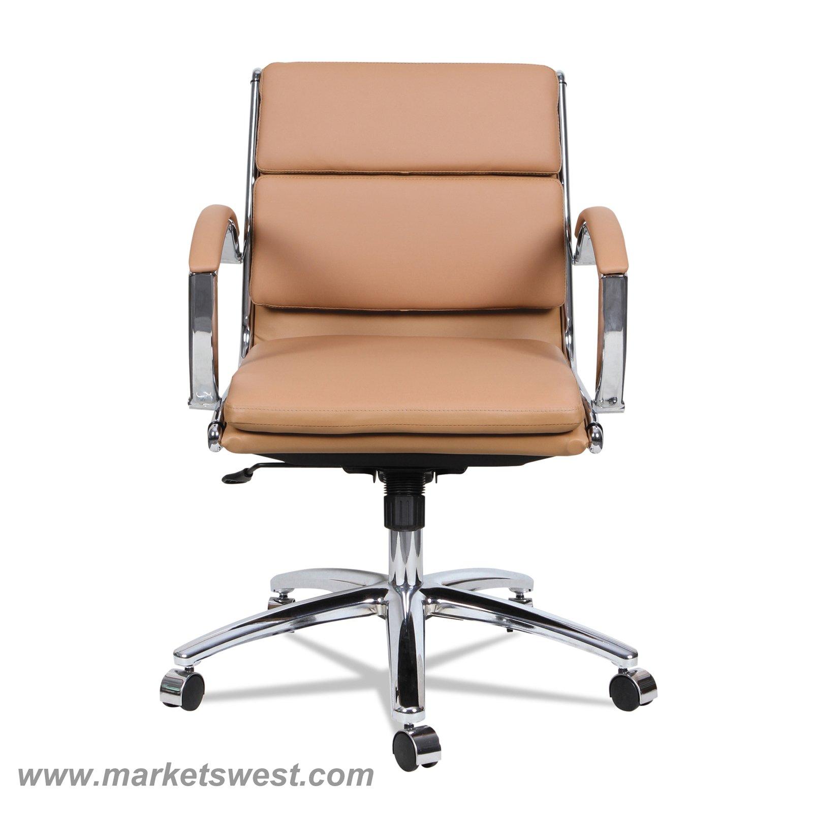 Neratoli Low Back Swivel Tilt Chair Red Soft Touch Leather Chrome Frame