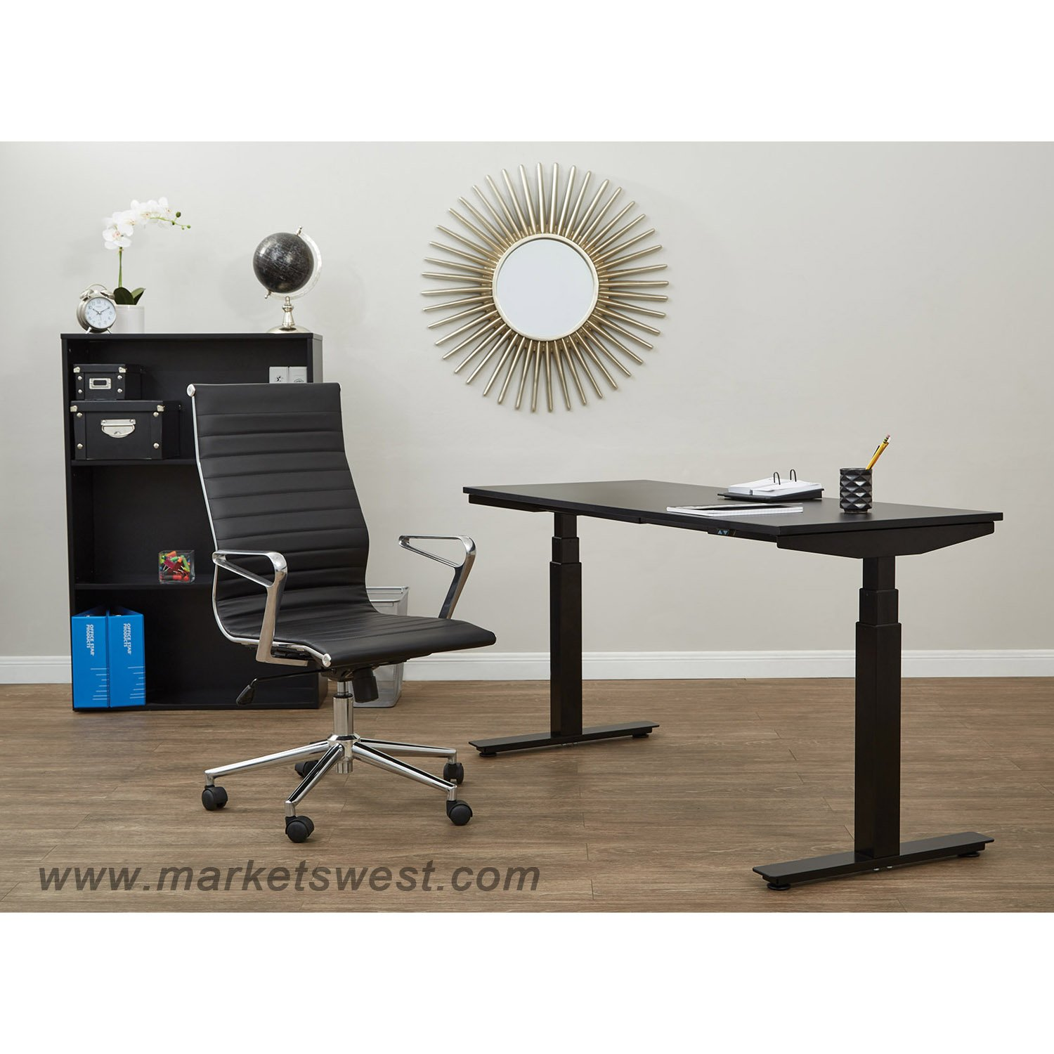 """Ascend Pneumatic Adjustable Height Table Desk with 24"""" x 48"""" Top"""
