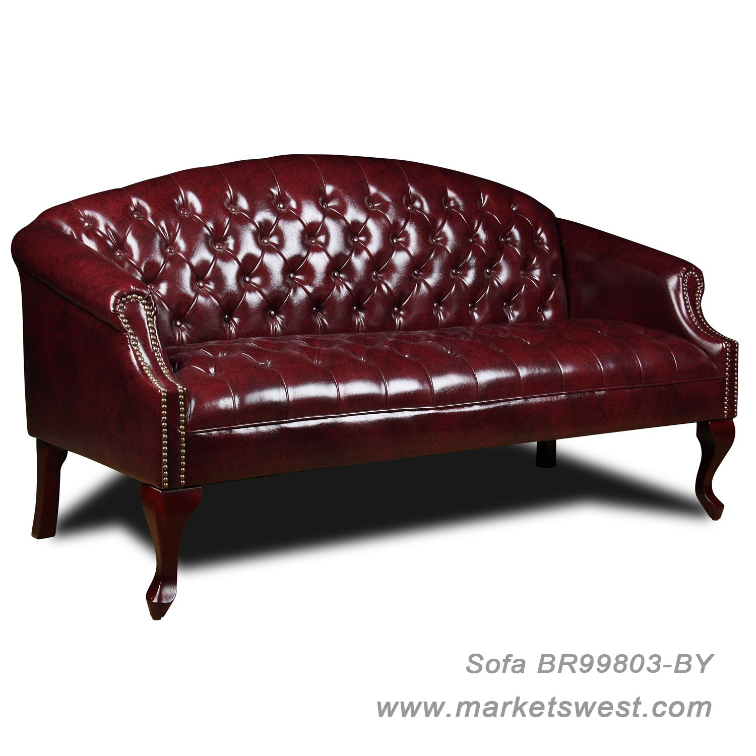 Boss traditional button tufted style sofa for Traditional tufted leather sofa