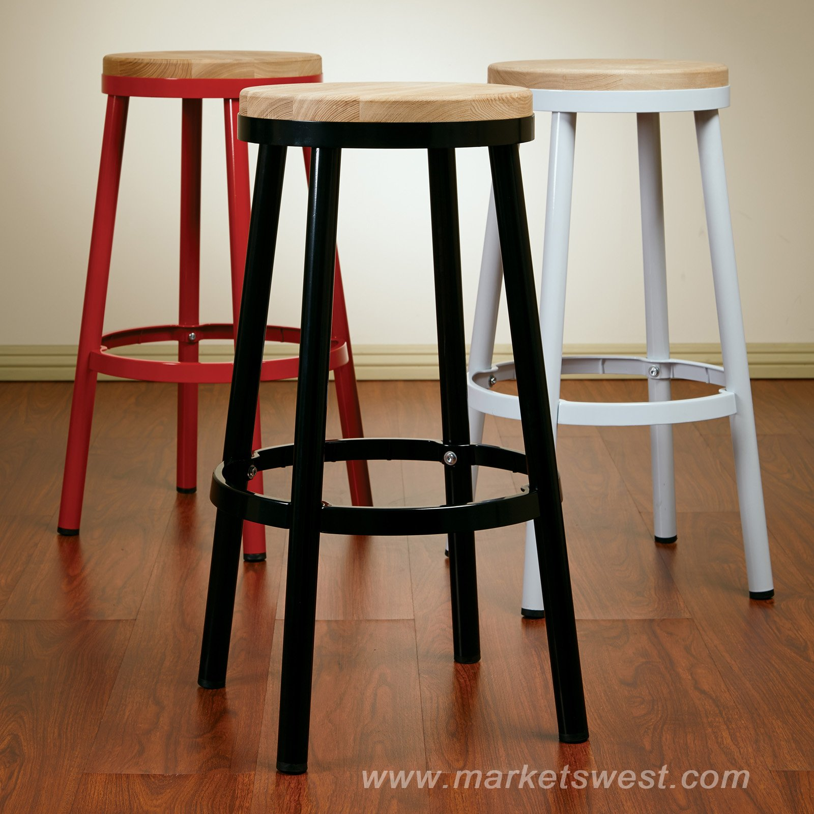 Bristow 30 Backless Metal Barstool With Ash Wood Seat