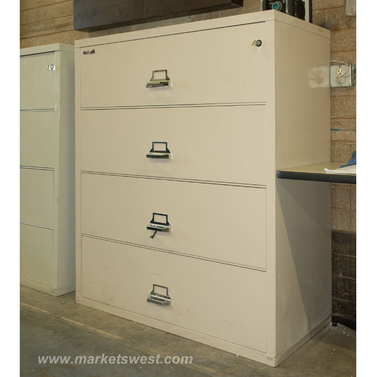 Drawer Beige Fireproof Lateral File Cabinet Pre Owned