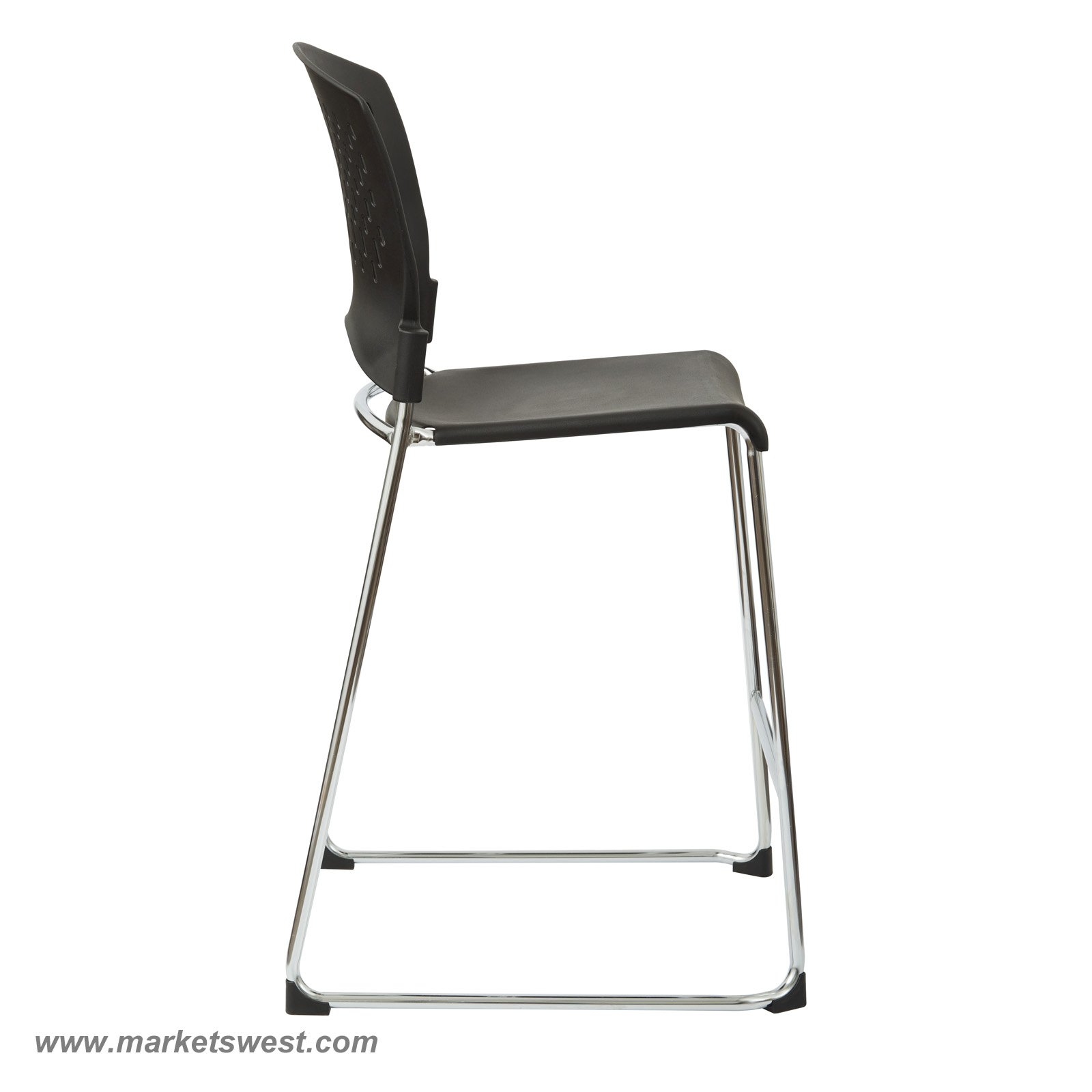 Tall Stacking Chair Stool With Plastic Seat And Back