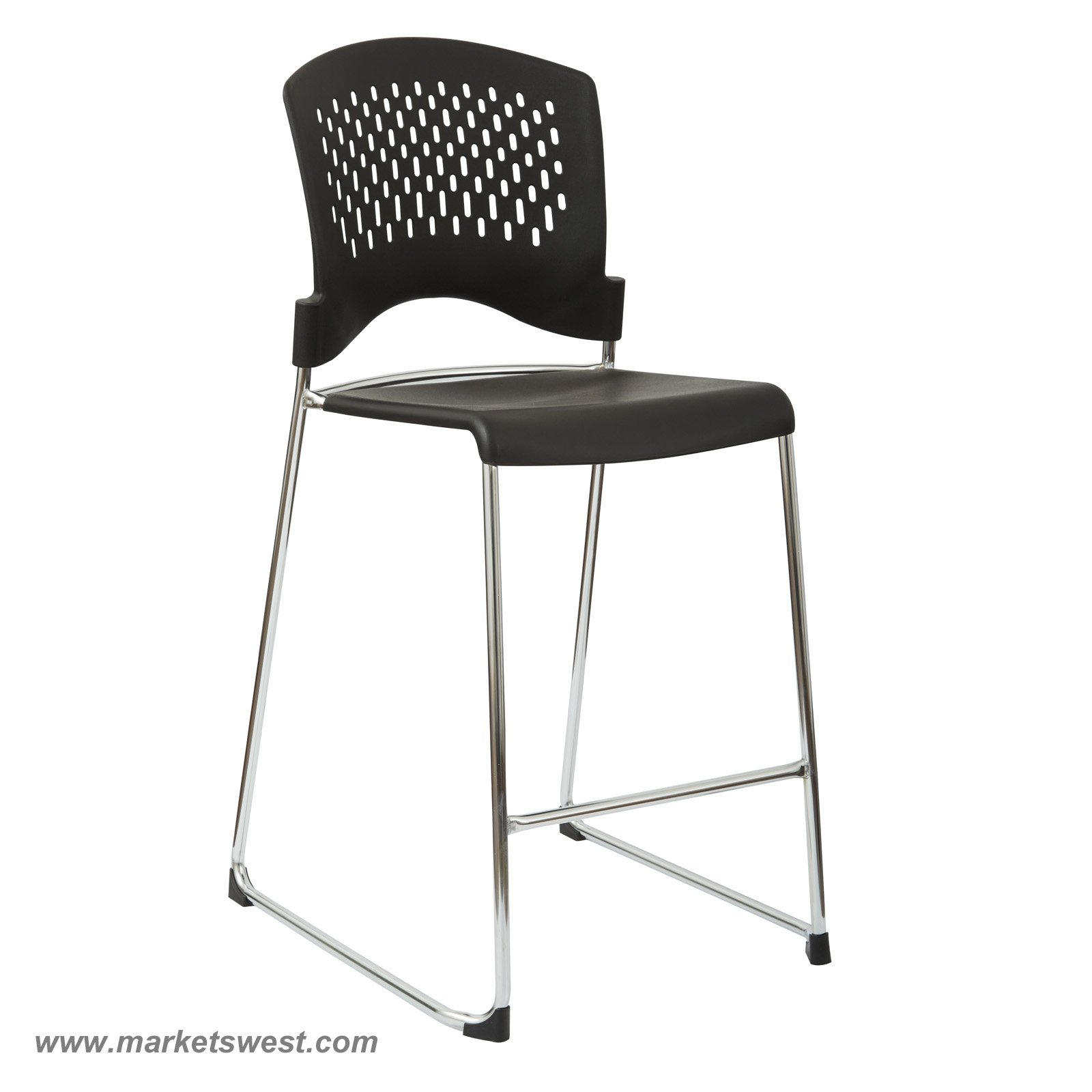 Tall Stacking Chair Stool with Plastic Seat and Back Chrome Frame