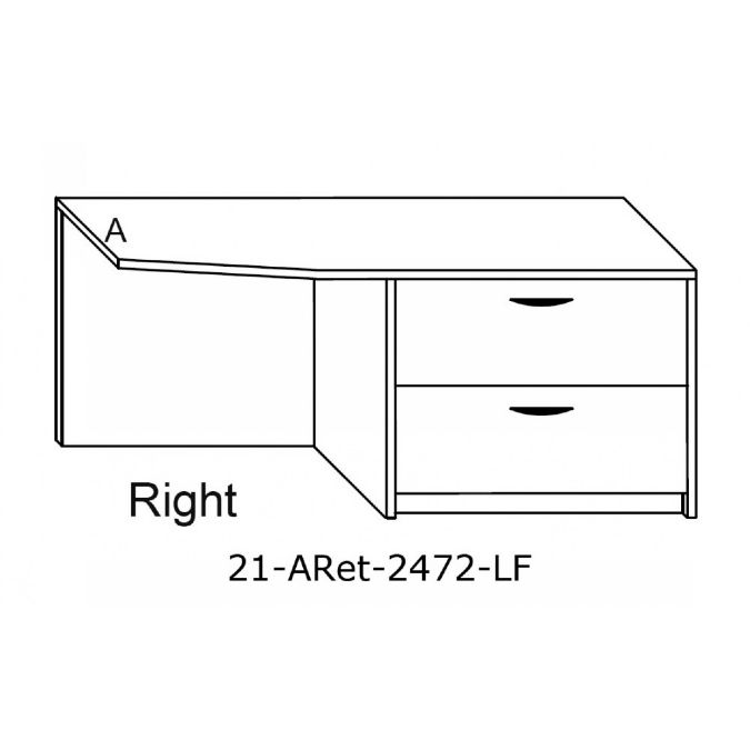 2100 - angled return w/lateral file pedestal-24 inch x 72 inch 24 inch file cabinet