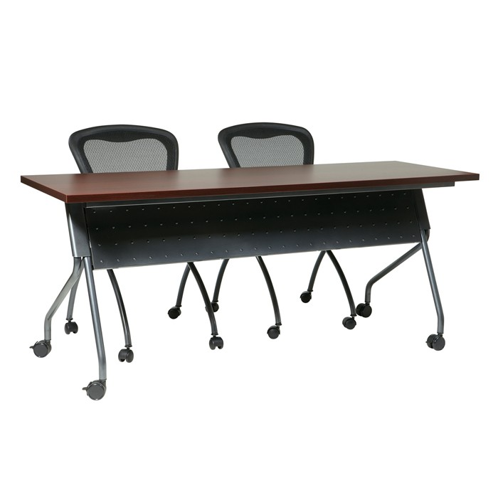 Adjustable Height Table Base Folding Nesting Mobile Training Table-72x24