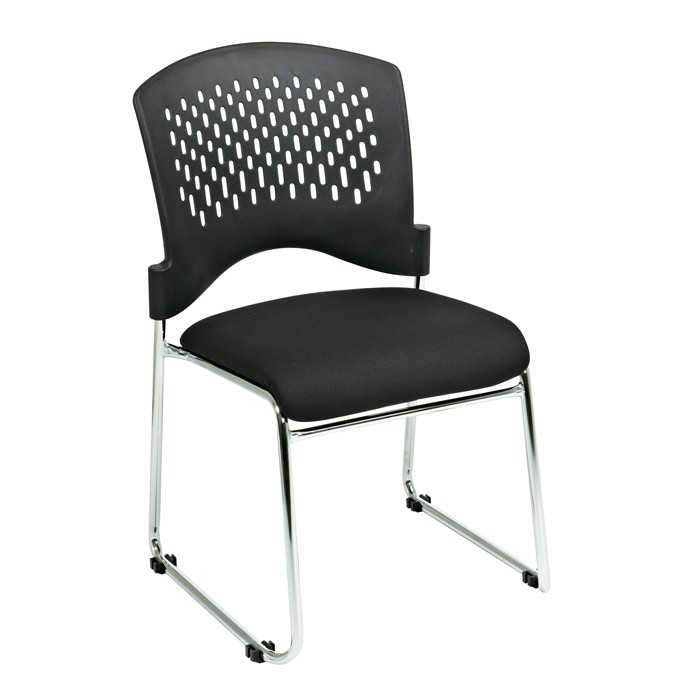Merveilleux Stacking Visitors Chair With Plastic Back Padded Black Fabric Seat Chrome  Frame