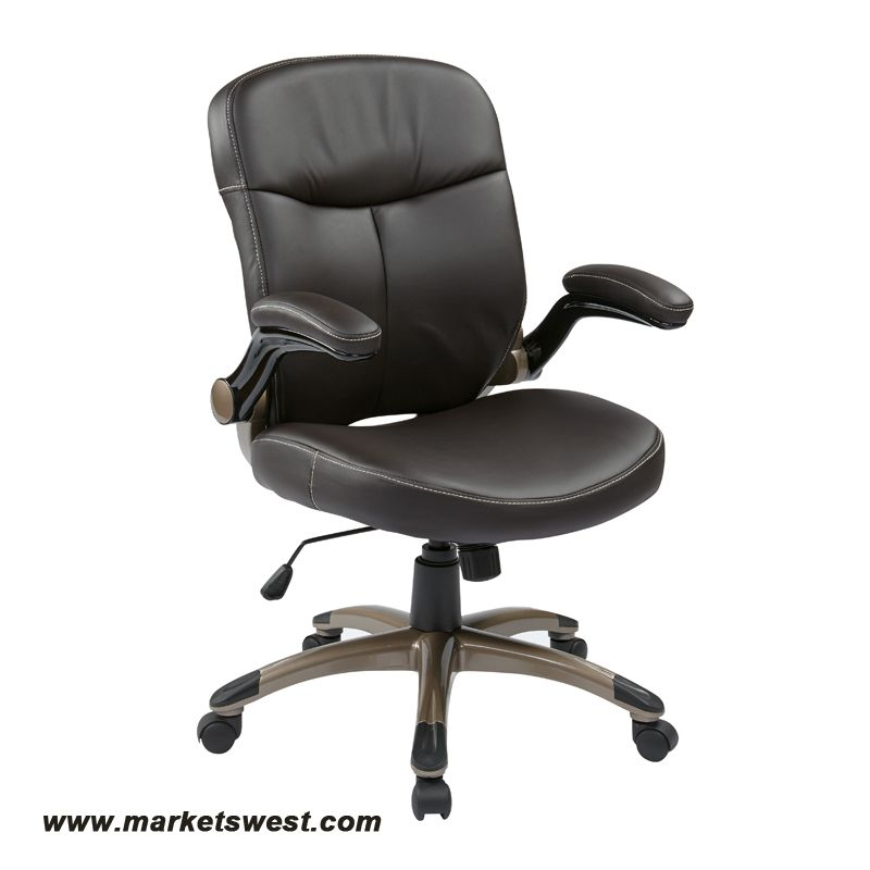 Executive Espresso Eco Leather Chair With Padded Flip Arms And Cocoa Coated Base