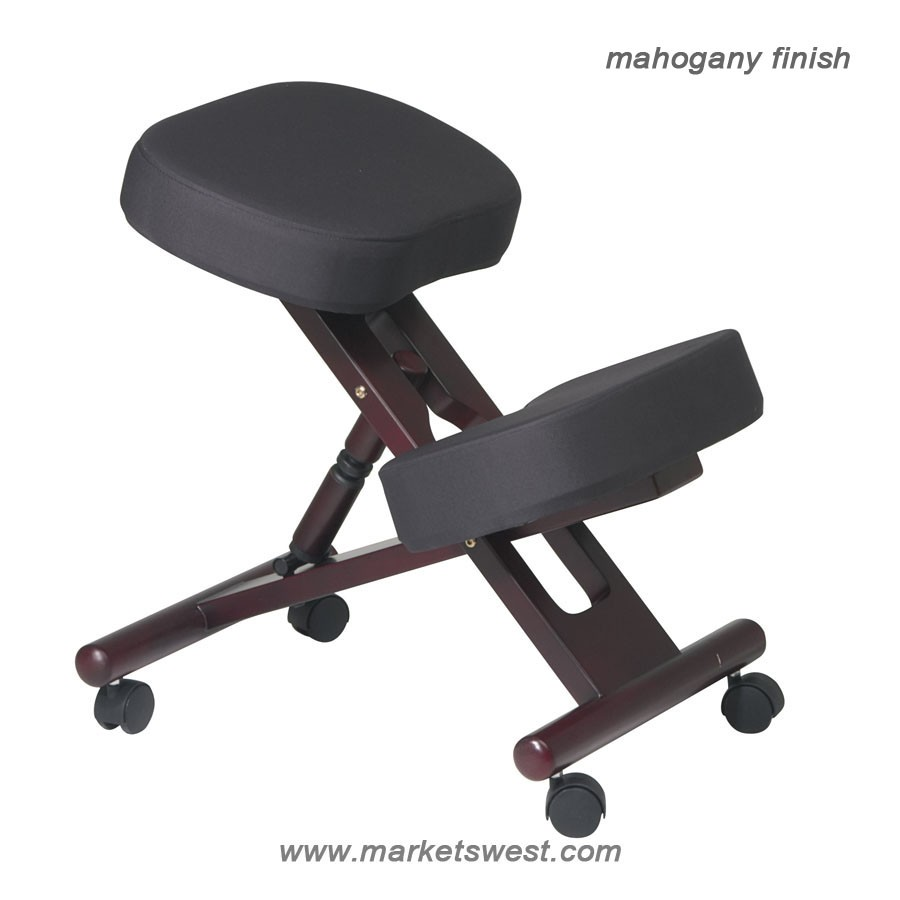 ergonomically designed mahogany finished wood knee chair with