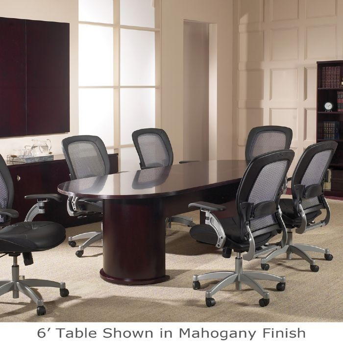 Ft Racetrack Conference TableWood VeneerMahogany Or Light Cherry - 8 foot conference room table