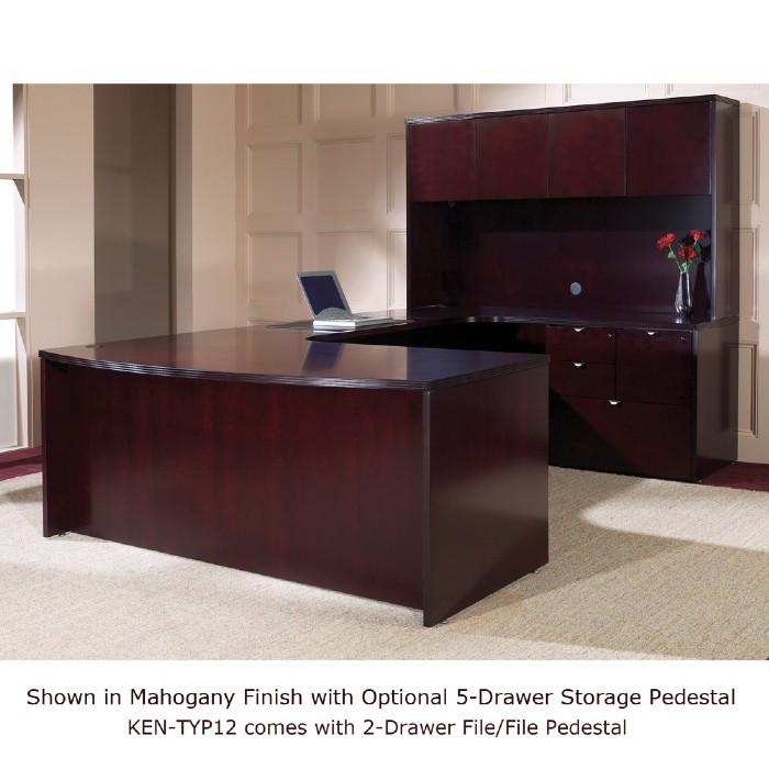 U Shape Desk Suite W Hutch 72x107 Mahogany Or Light Cherry