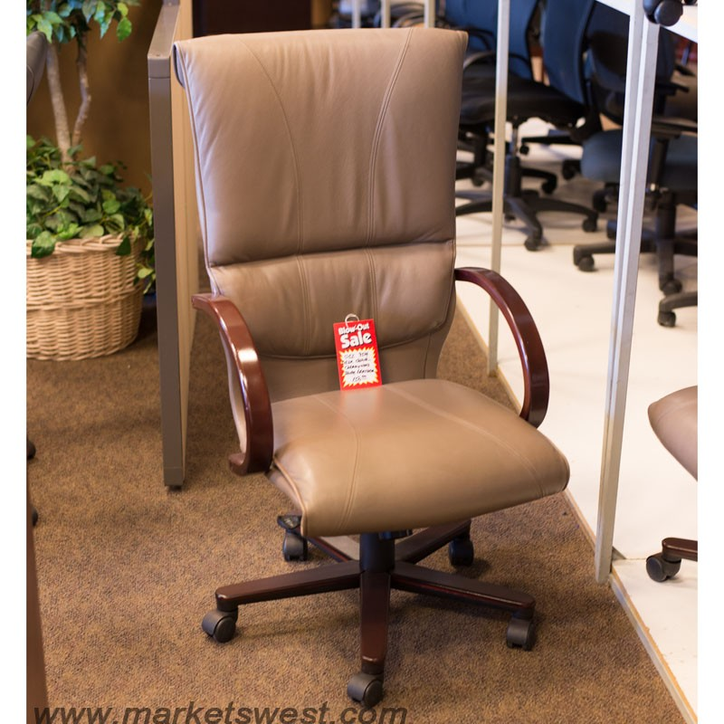 OCI High Back Taupe Leather  Cherry Wood Desk Chairs-Used