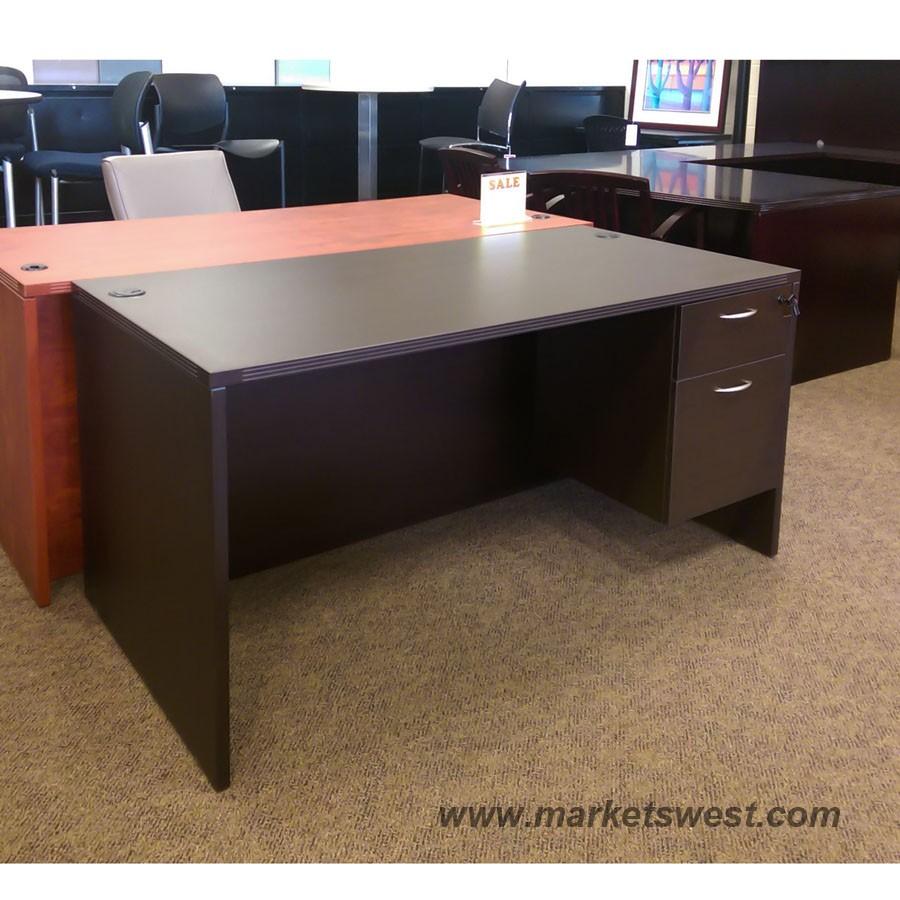 Single Hanging Pedestal Desk 60x30 Espresso