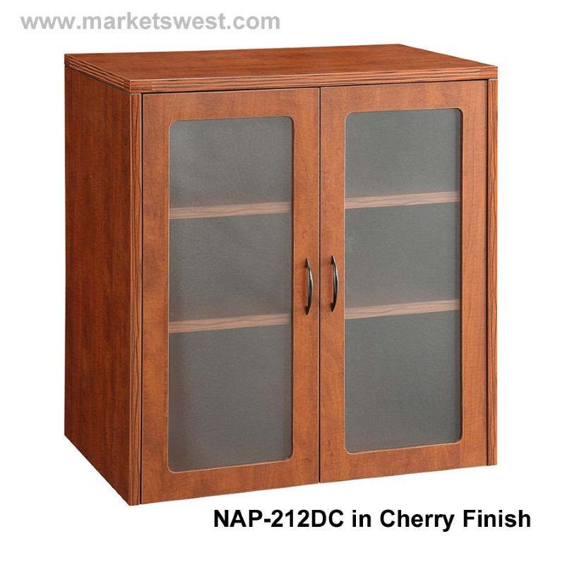 Quot storage cabinet with wood and or glass doors cherry