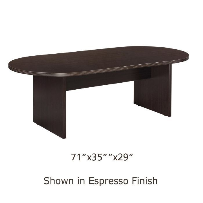 6 foot x 3 foot racetrack conference table espresso for Table 6 foot