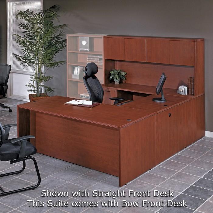 U Shape Desk W Hutch 71x113 Cherry Or Mahogany