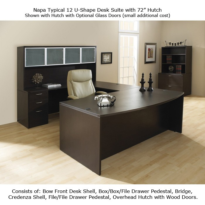 Beau U Shape Office Desk Suite W/Hutch 72inch X 113inch In Espresso/Urban Walnut