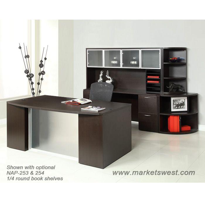 Executive Desk Suite W Hutch Glass Modesty Panel Espresso Finish