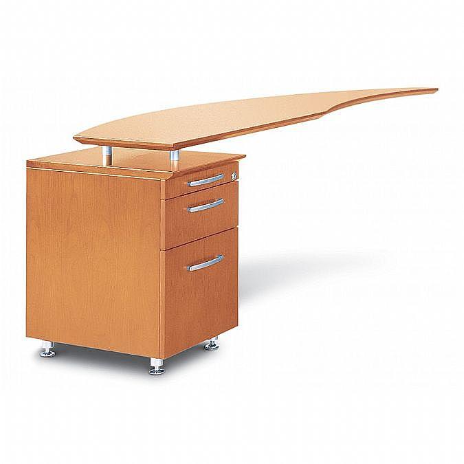 Napoli Curved Desk Return with Pencil-Box File Pedestal - Left 63 inch