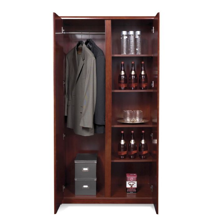 Wardrobe cabinet w shelves dark cherry wood