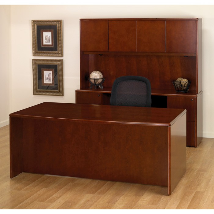 Executive office desk suite in dark cherry wood - Wood office desk ...