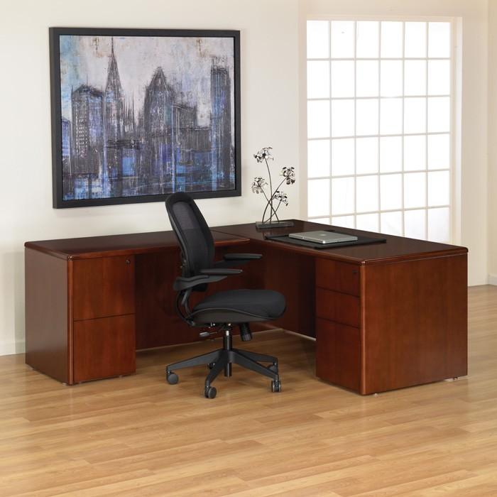 L Shape Desk 66 X78 In Dark Cherry Wood