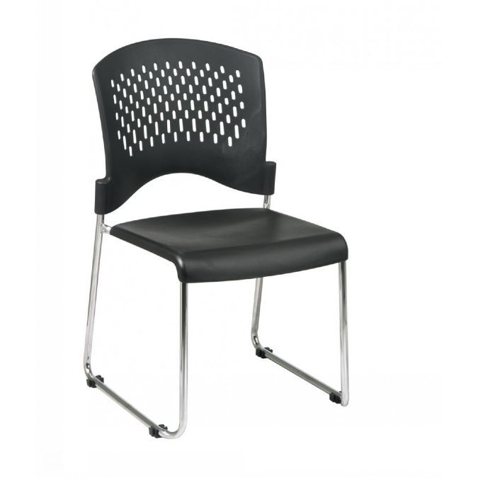 Stack Chairs With Plastic Seat And Back (Chrome Frame)   Assembled On Dolly  (Bulk Pack Of 30)