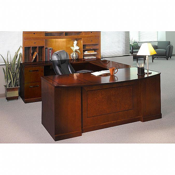 Sorrento Executive U-Shaped Bowfront Left Bridge PBF-Desk, FF-Credenza