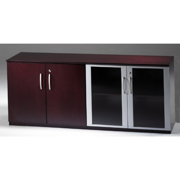 Napoli Low Wall Cabinet With Doors Wood Glass Door Combination