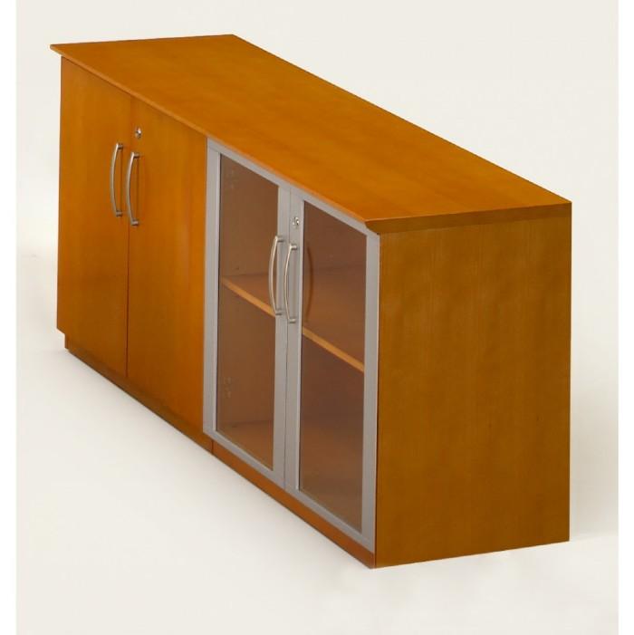 Napoli Low Wall Cabinet with Doors-Wood/Glass Door Combination