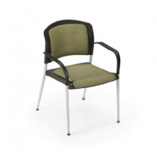 Office Master SG3B Stacking Guest Chair W Arms Cushion Seat Back