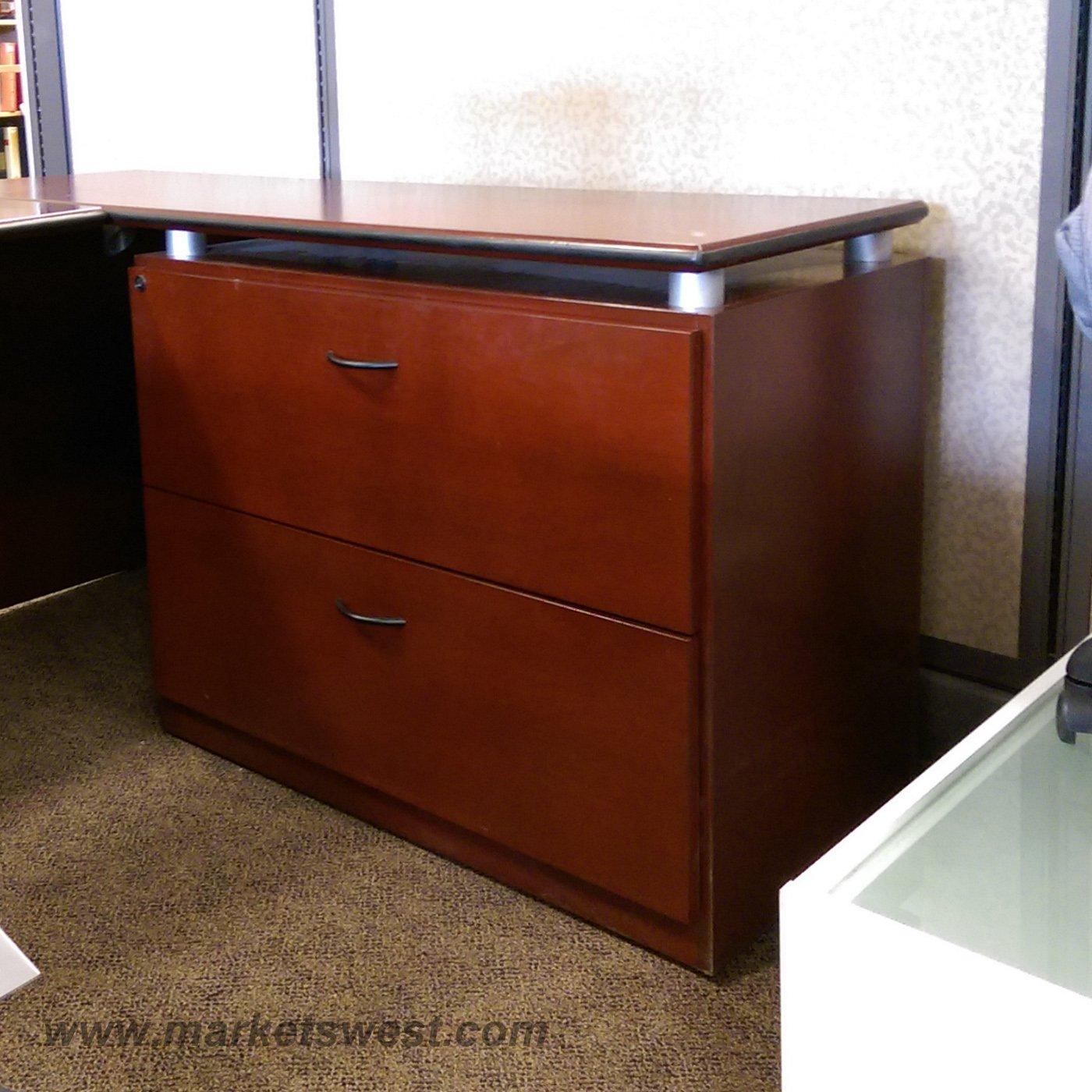 Mahogany Wood Desk ~ Mahogany dark cherry wood veneer u shape desk suite used