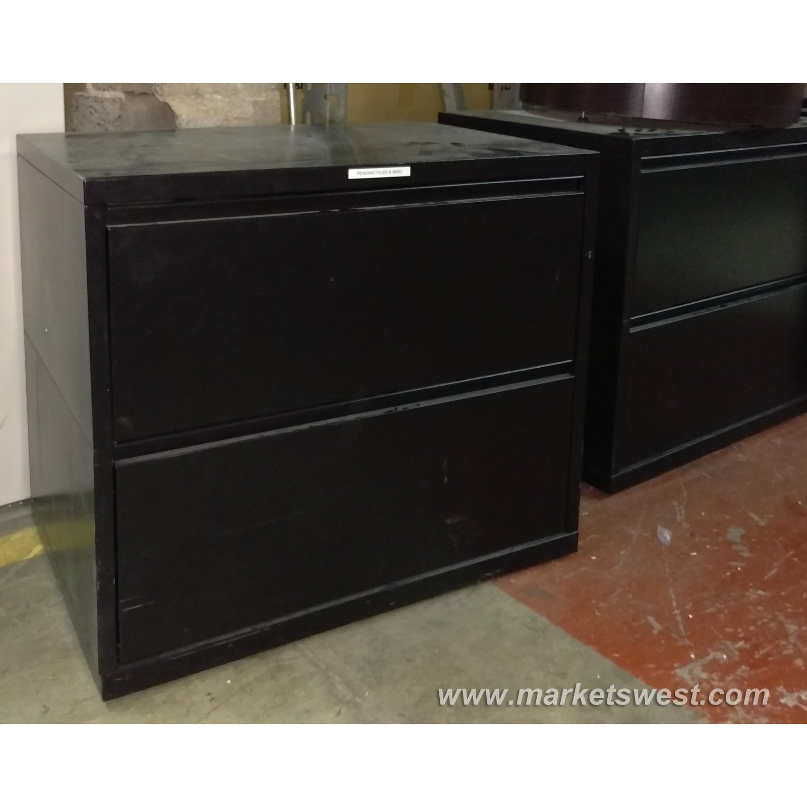 2 drawer black meridian herman miller lateral file for Meridian cabinets