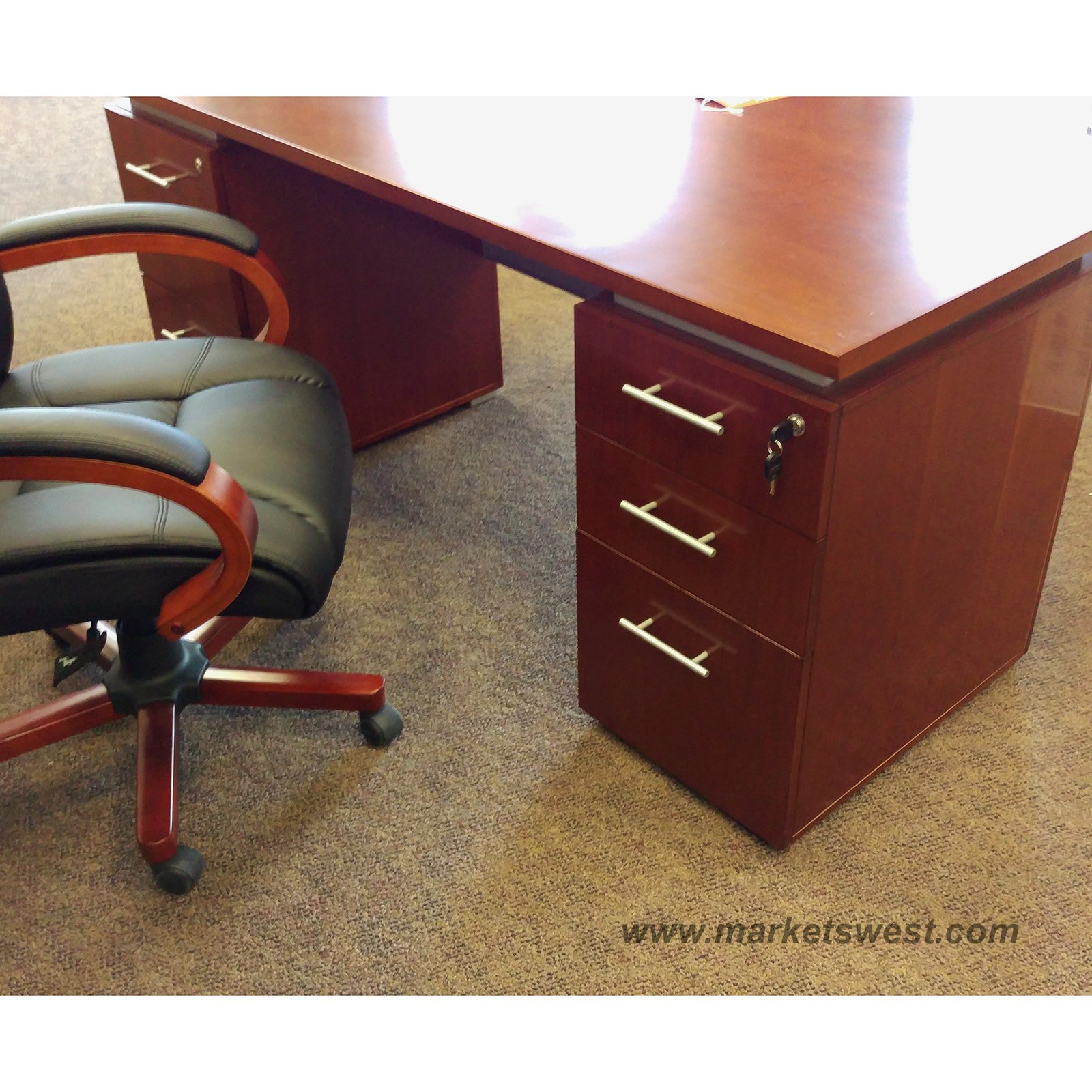 Cherry File Cabinets Cherry Wood Veneer Executive Desk Dual 2 Drawer Lateral File
