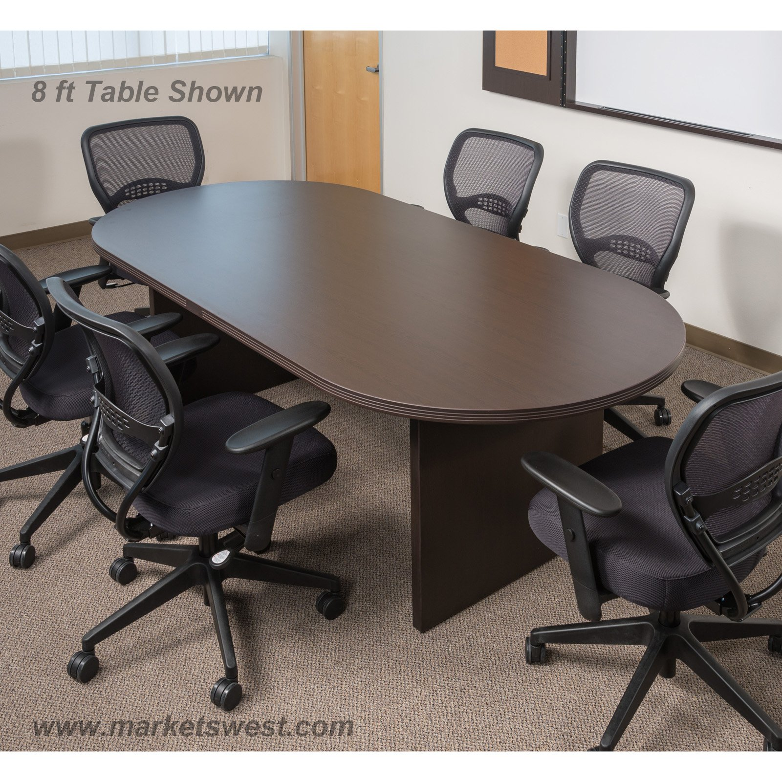 Foot X Inch Racetrack Conference Table Espresso - 8 foot conference table and chairs