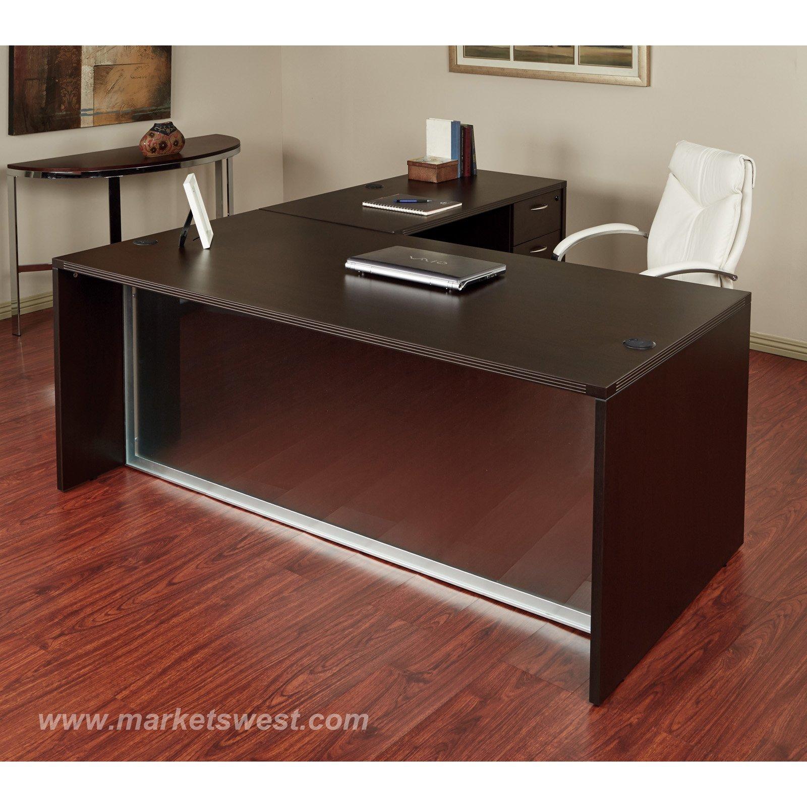 L Shape Desk 72 Quot X84 Quot With Glass Front Espresso Or Urban