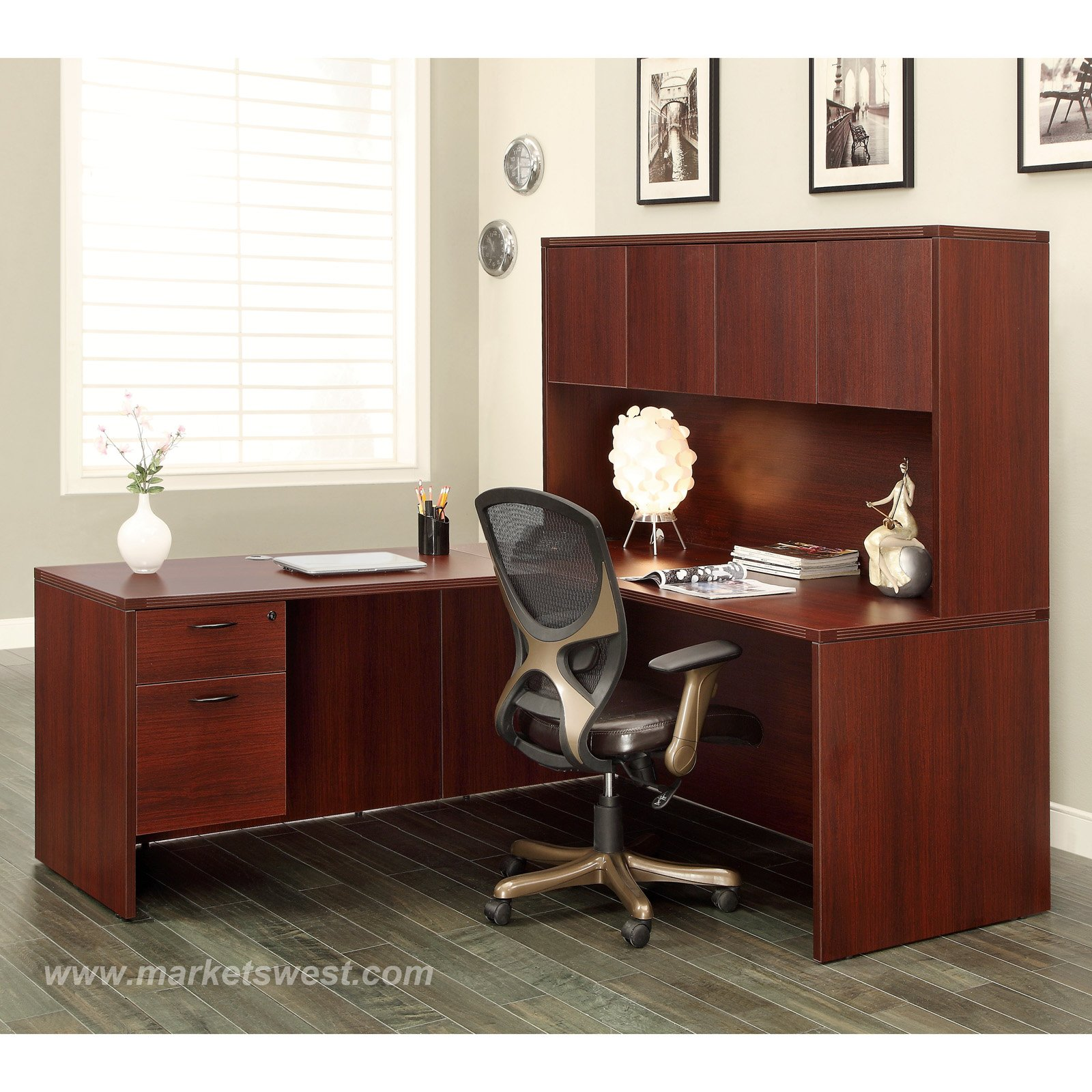 L Shape Desk With Hutch 66x78 Cherry Or Mahogany