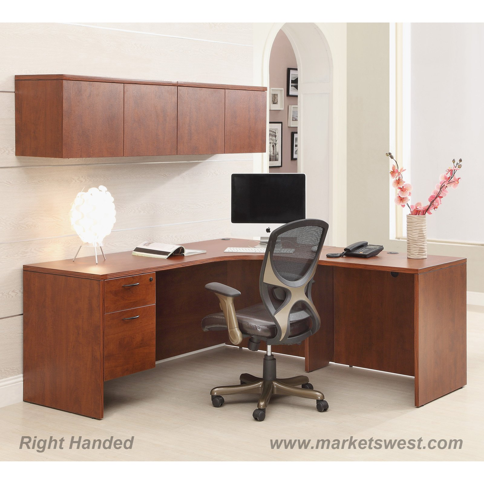 L-Shape Desk 72 x72  with Computer Corner u0026 Wall Mount Cabinets Cherry or Mahogany & L-Shape Desk 72