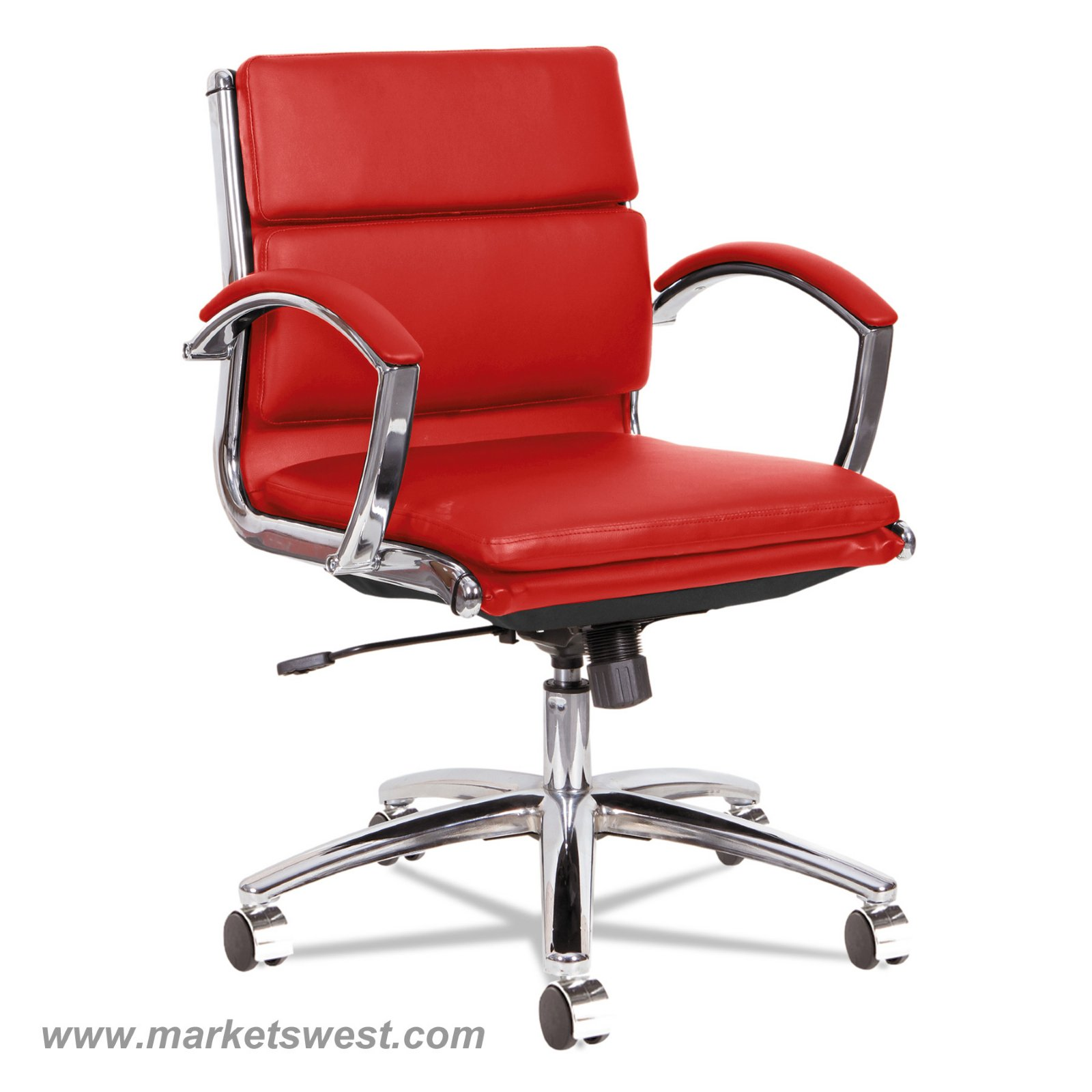 neratoli low back swivel tilt chair red soft touch leather chrome
